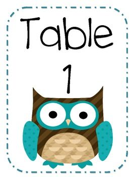 owl table number posters 1-5 FREE!