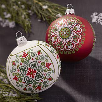 Scandi Snowflake Ball Ornaments