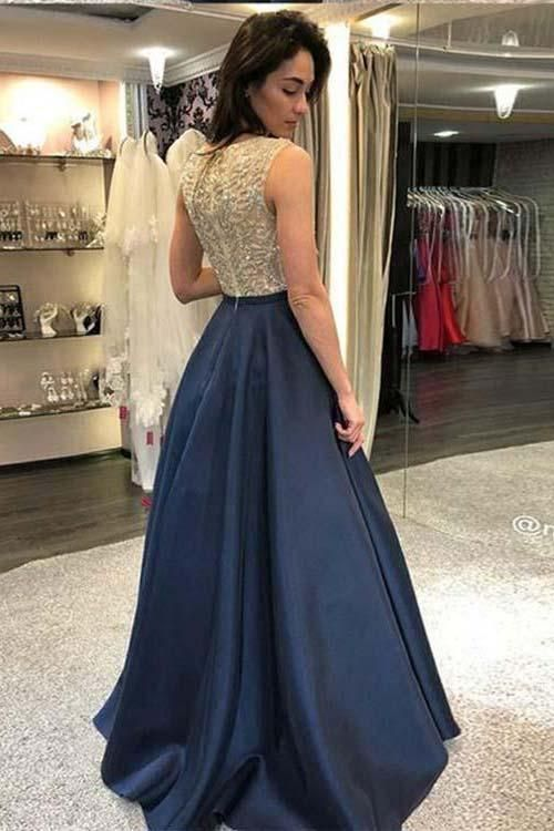 20a36590a0da9 A line Navy Blue Beaded Evening Party Dress in 2019 | Fashion | Prom ...