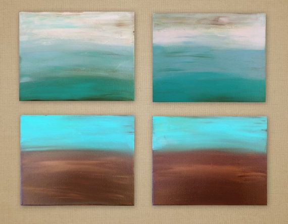 Original Art Abstract Painting Ombre Canvas Painting 4 8x10 Canvas S Brown Teal White Modern Art