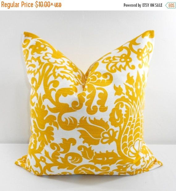 SALE Yellow Pillow Cover. Floral. Corn yellow  and White