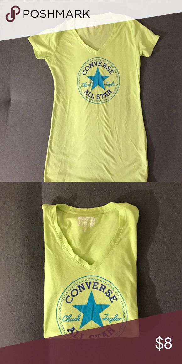Neon converse patch tee Blue and neon yellow patch tee bought from converse! Converse Tops Tees - Short Sleeve