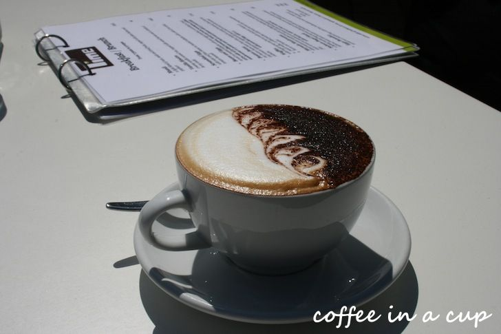 a cup of cappuccino at 'lime' in rotorua, new zealand