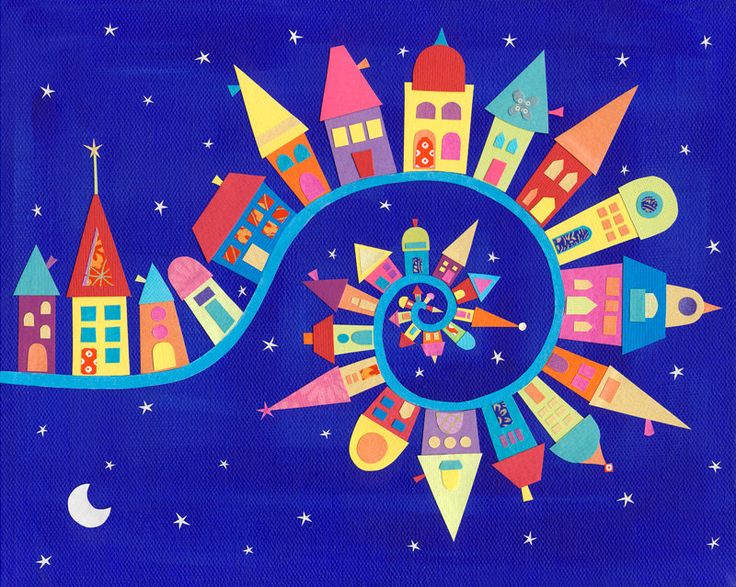 Art Print - Twisty-Twirly Town - 10 x 8. £15.00, via Etsy.  This would make a fun quilt!