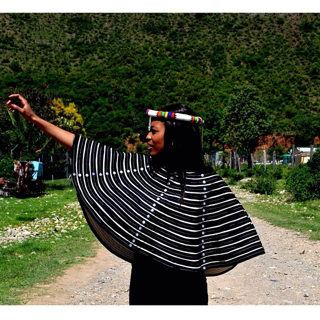 We also have the Peplum Cape in the traditional mbhaco colours (cream and black). It can be worn with your dress of choice, pants or a skirt for any occasion. #Ntombobom #Mbhaco #Xhosa