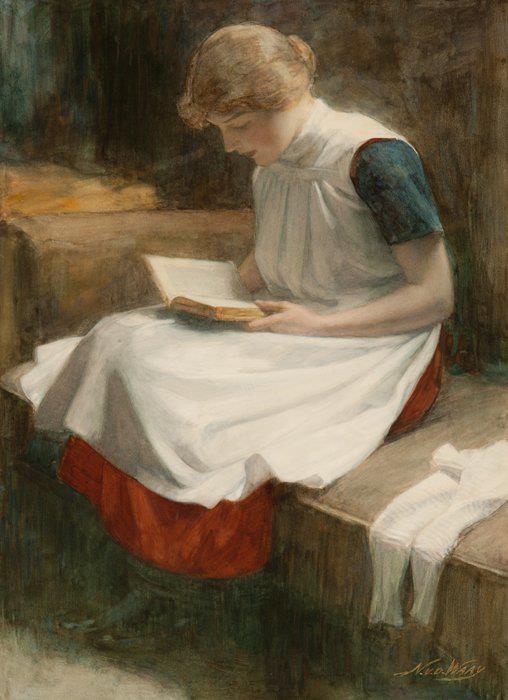 Lezend meisje - Nicolaas van der Waay (Dutch, 1855-1936)
