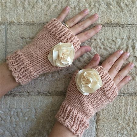 Hand knitted fingerless mittens in soft acrylic yarn. Pretty apricot with detachable adornments