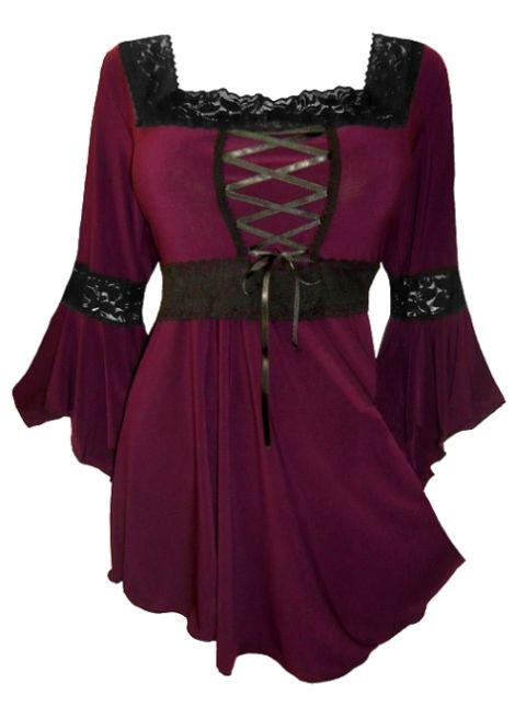 Plus Size Burgundy and Black Renaissance Lacing up Corset Top