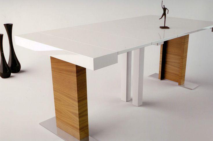 Consola y mesa de comedor extensible todo en uno madera for Mesa consola extensible ikea
