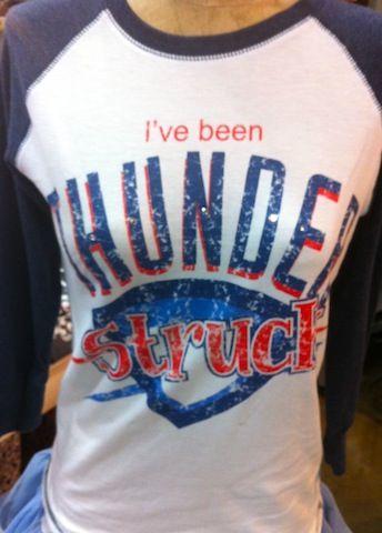 Thunderstruck Thunder Fan Raglan-thunder, okc, oklahoma city thunder, basketball, oklahoma, tee, t, shirt, t-shirt, funky, fan, retro, raglan, the tiara fits