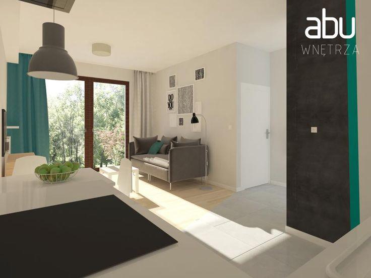 living room & kitchen, scandinavian style, Wilanów