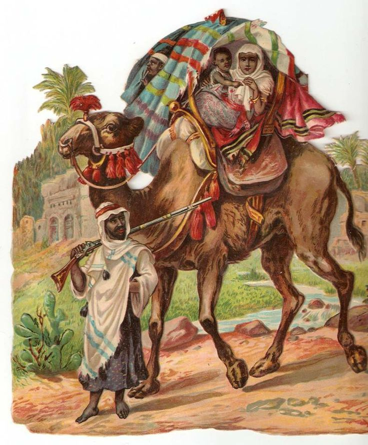 Victorian Camel Caravan Middle East Arab Men Scrap 1880s