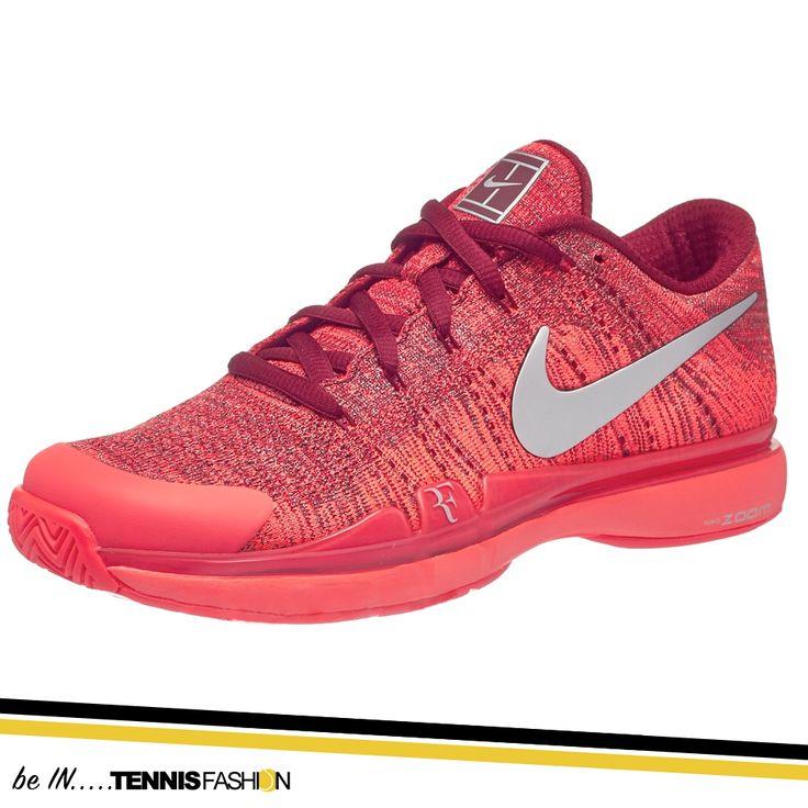 Nike Zoom Vapor Flyknit Night Red/Silver Men's Shoe #nike #tennisfashion #RF #Roger #RogerFederer #Federer