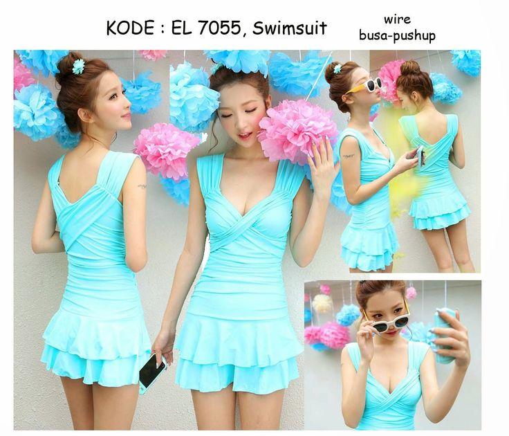7055-240rb Jual baju renang warna tosca biru terbaru fashion asia