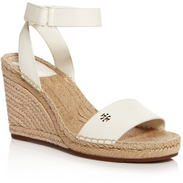 Tory Burch Bima Espadrille Wedge Sandals ($175) ❤ liked on Polyvore featuring shoes, sandals, ivory, tory burch sandals, tory burch shoes, ivory sandals, tory burch and wedges shoes