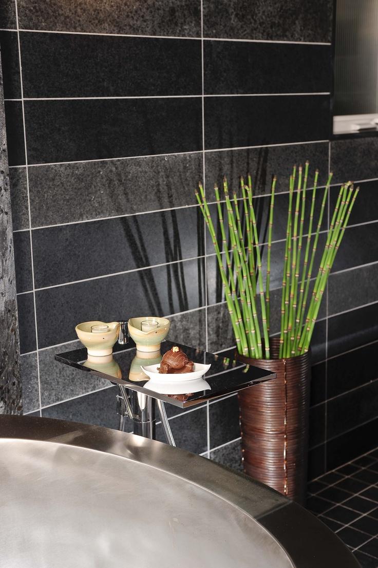 1946 yellow and grey tile bathroom - Serene Japanese Style Bathroom