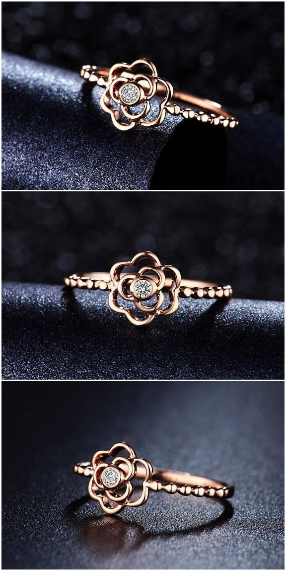 Flower design Circle Diamond Engagement Ring in 10k Rose Gold, Wedding Ring, Promise Ring, Flower Ring, Circle Ring, Diamond Rings