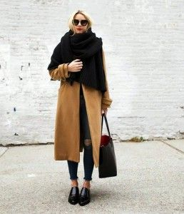 A fall outfit with a scarf and coat. Learn how to wear a scarf this fall >>> http://justbestylish.com/20-stylish-ways-how-to-wear-scarf-this-fall/2/