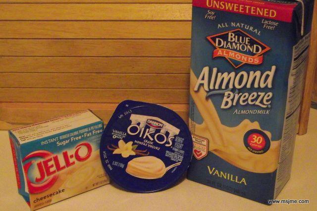 Ingredients: 1 cup Vanilla Greek Yogurt  2 tbs (1/2 package) Sugar Free Jello Pudding Mix Cheesecake Flavor 1/4 cup Vanilla Almond Milk