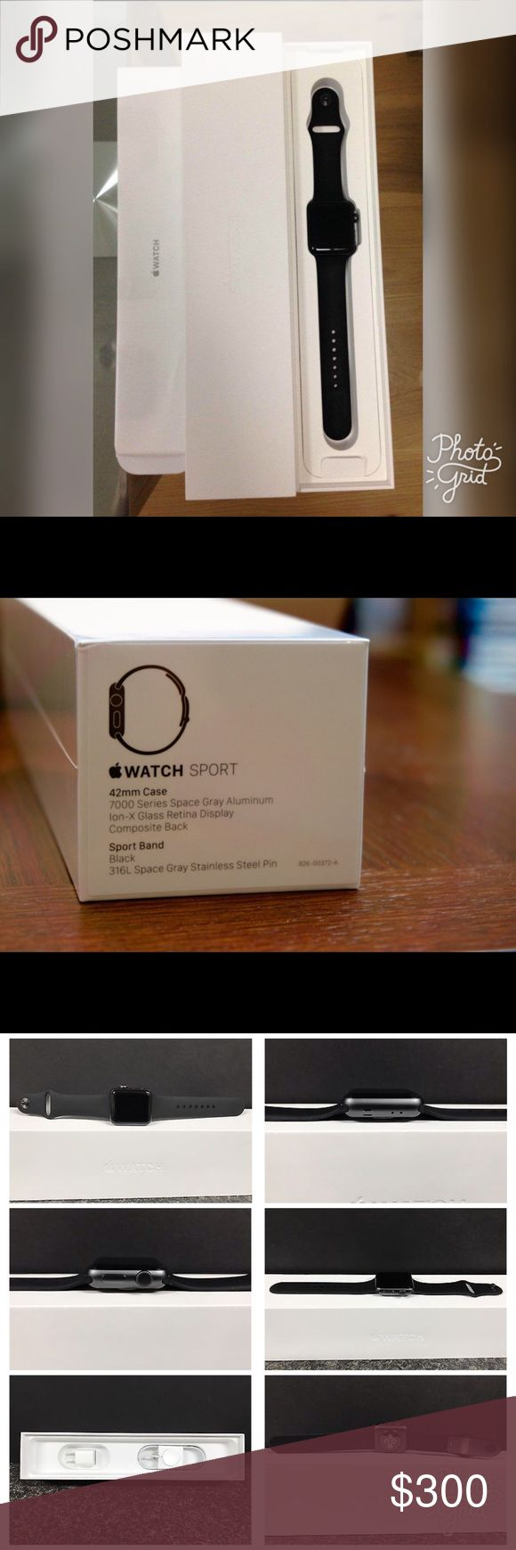 Apple Watch Series 2 Sports Black, 42MM This Watch was purchase April 2017, it is only 3 months old. It is in Excellent condition, and only work a few times. It has absolutely no scratches, scuffs, or signs of wear. I still have the original receipt. The watch comes with everything that is in the photo including an extra black band. 🚫No Transactions off of Poshmark, please do not ask, someone has already tried to scam me, I will only go through Poshmark for my safety and yours. Apple…