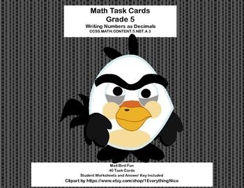 This collection of 36 task cards provides lots of practice in reading and writing decimals to thousandths. The whimsical mad bird theme will help to make it engaging for your students. Aligned with CCSS.MATH.CONTENT.5.NBT.A.3