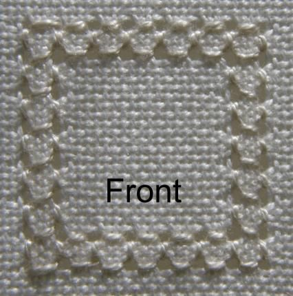 Learn how to work four sided stitch, for pulled work or hardanger embroidery, both horizontally and vertically