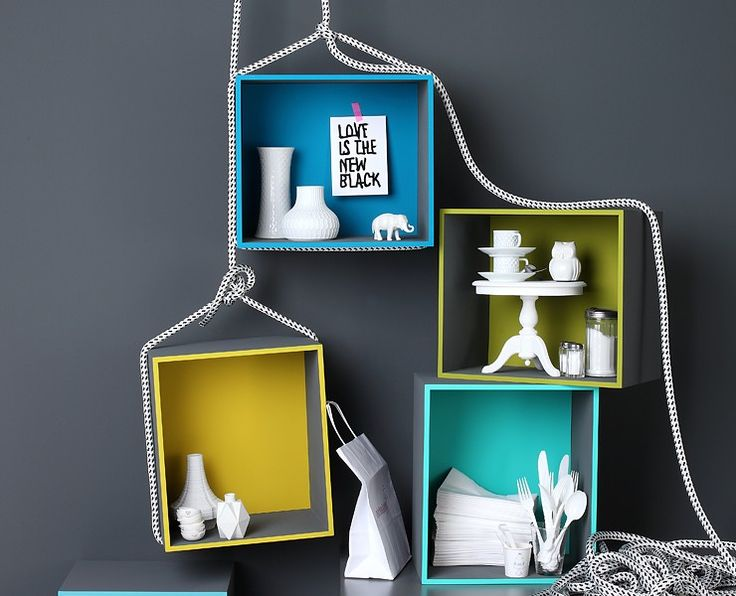 white objects, colour boxes (love the styling)