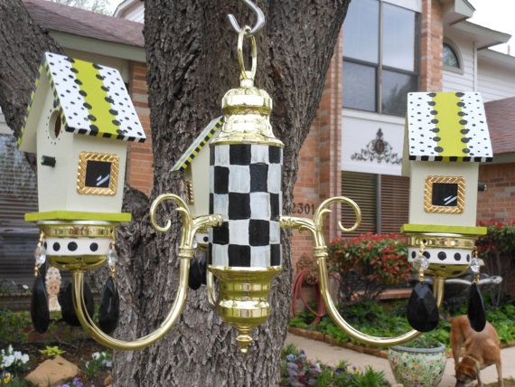Black and White check birdhouse Chandy by Lindagodi on Etsy, $99.00