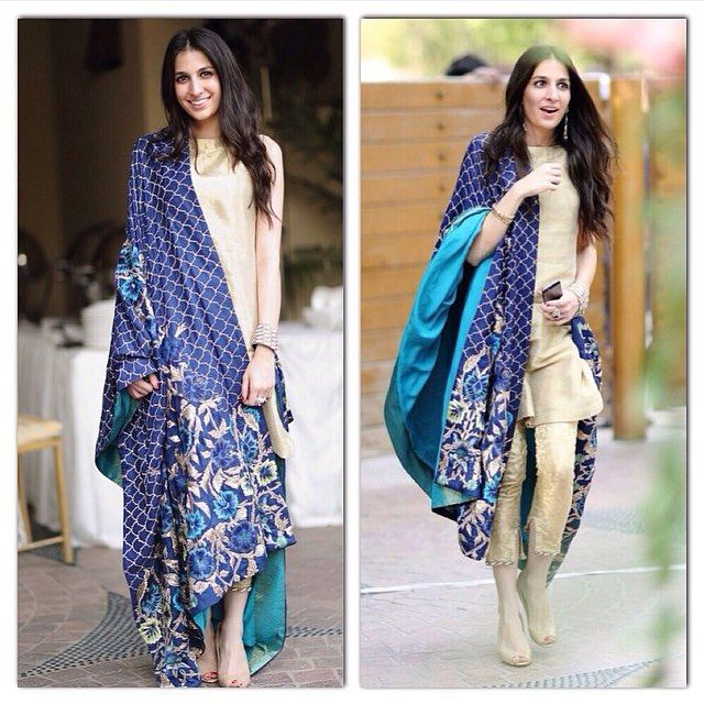Understated elegance is the best kind .. We love love LOVE this outfit by Mahgul .. #ciggyPants #kameez in beige with a dual tone #blue and Aqua dupatta ! #love #outfit #lookbook #details #IndianStreetFashion #ISF