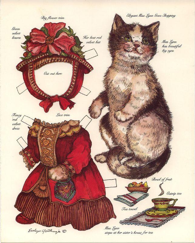 Victorian cat paper doll