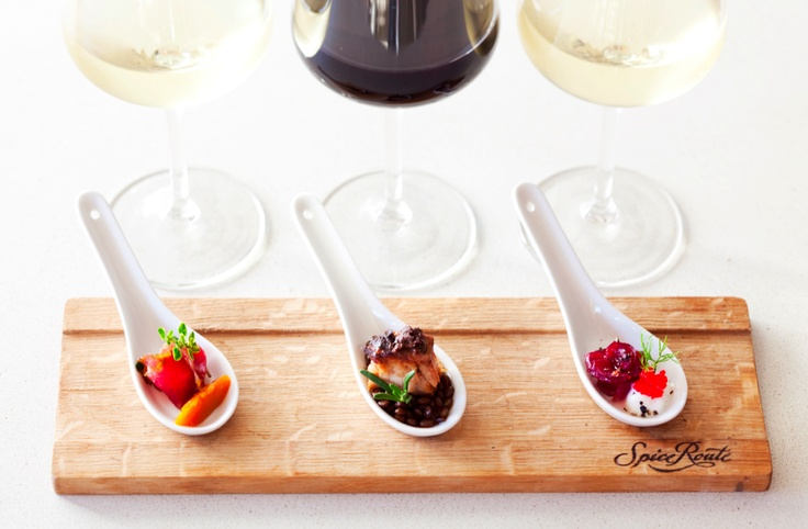 Food and wine pairing.  Spice Route Restaurant, Paarl, South Africa