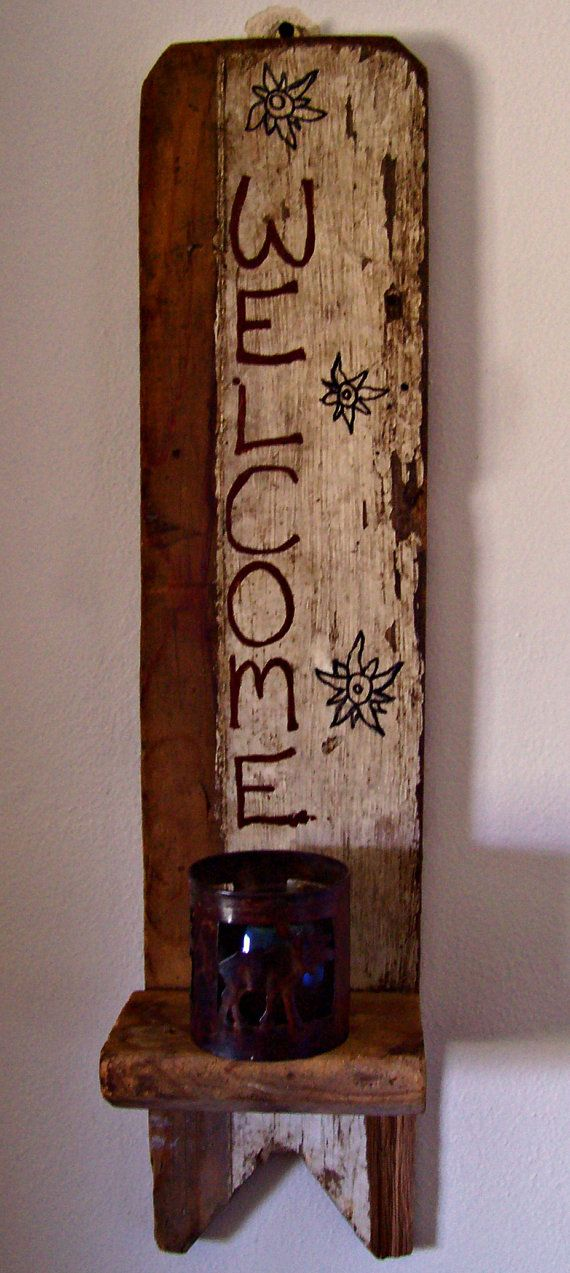 Barn Wood Decor Signs: WELCOME Barn Wood Wall Shelf Decor Old Boot By