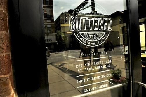 The Buttered Tin (St Paul, MN). Located in Lowertown, this place has become my favorite breakfast spot. Everything on the breakfast menu is delicious and fresh. A few favorites: the Breakfast Hot Dish, Banana Foster French Toast, The Buttered Tin Hash. And the bakery case...just incredible!