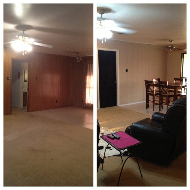 Before after wall paint is kelly moore 39 s wise owl for Perfect tan paint color