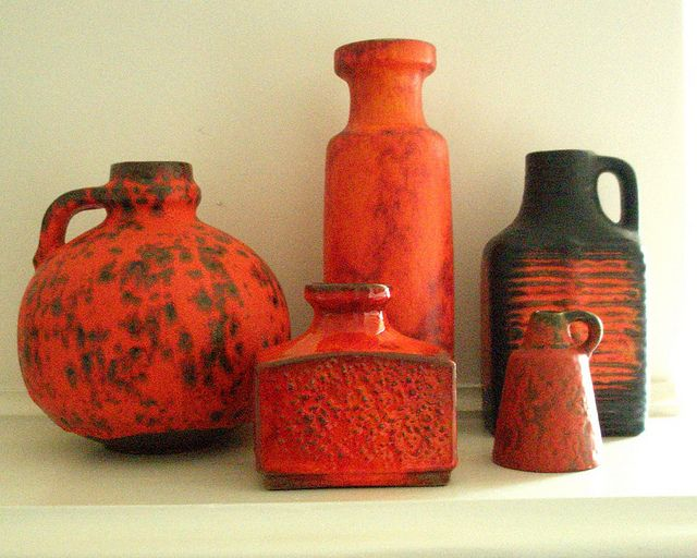 1970s west german vases They sure found a great red glaze...