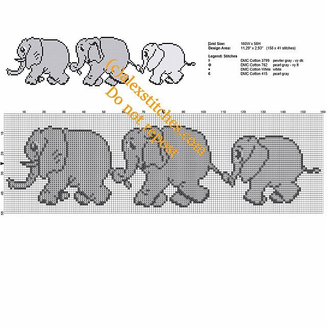 Mom Dad and Baby Elephant free cross stitch pattern