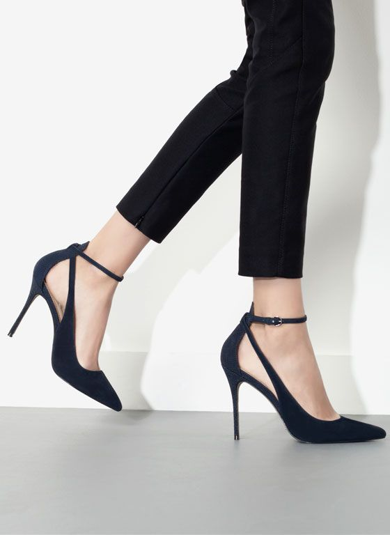 Elegant Dark Blue High Heels Tiny Straps Lovely Look