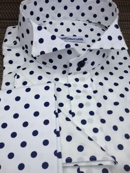 MorCouture Navy Polka Dot Wing Collar Shirt.  www.MorCouture.com
