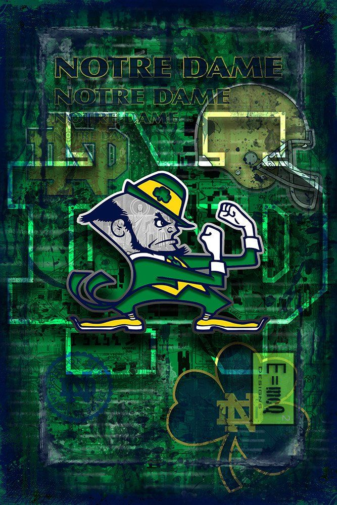 Notre Dame Poster, Notre Dame Fighting Irish Print, ND gift                      – McQDesign