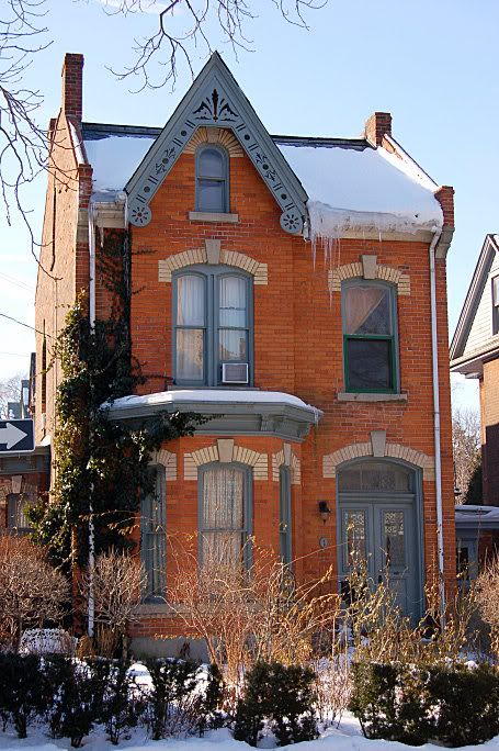 North Kirkendall, Hamilton, Ontario.  I think this is just about the perfect brick house.  perfect balance... corner of Stanley....