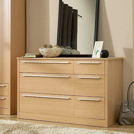 Melbourne 6 Drawer Wide Chest - Beech Effect George £129.00
