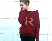 Harry Potter Sweater - Weasley Sweater - Weasley Jumper - Red and Gold - Knitted - Monogram - Pullover