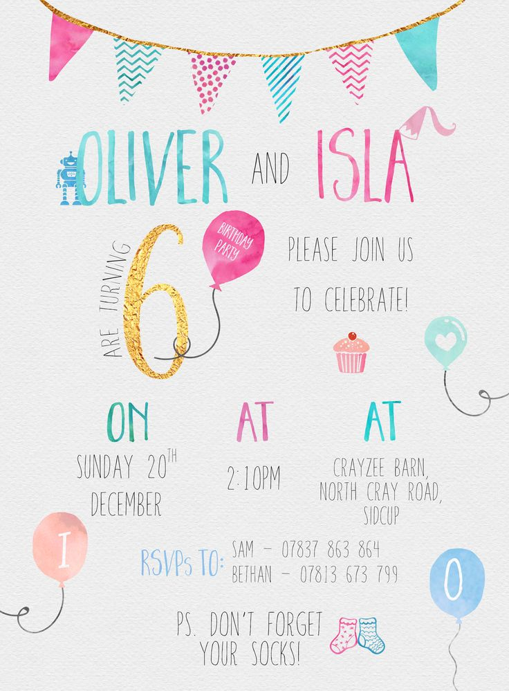 girl twins or siblings pool party invitations printable or printed