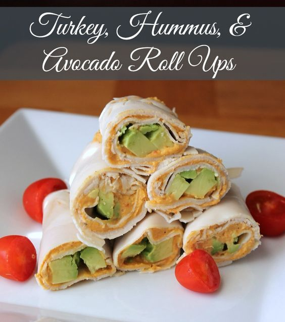 Turkey, Hummus, and Avocado Roll Ups (No Bread) 100 calories 3 weight watchers point Great lunch or snack!: