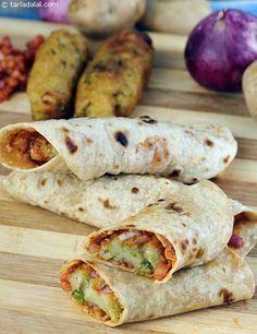 Spicy Potato and Roti Roll recipe |