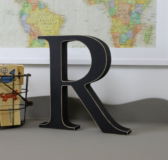 Free-standing distressed R by Light-filled on Etsy