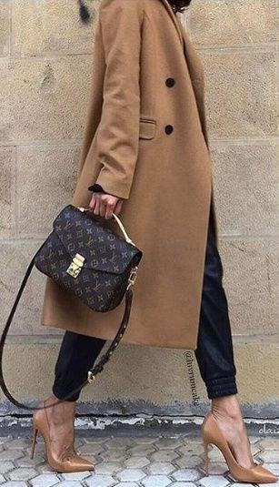 Camel Coat, Heels & Louis Vuitton Bag.