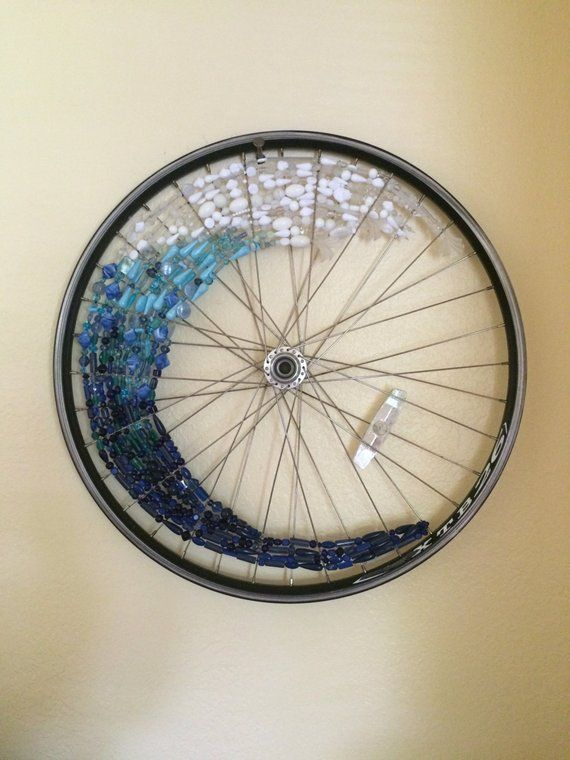 Ocean Wave Recycled Bicycle Wheel Art Wall Hanging