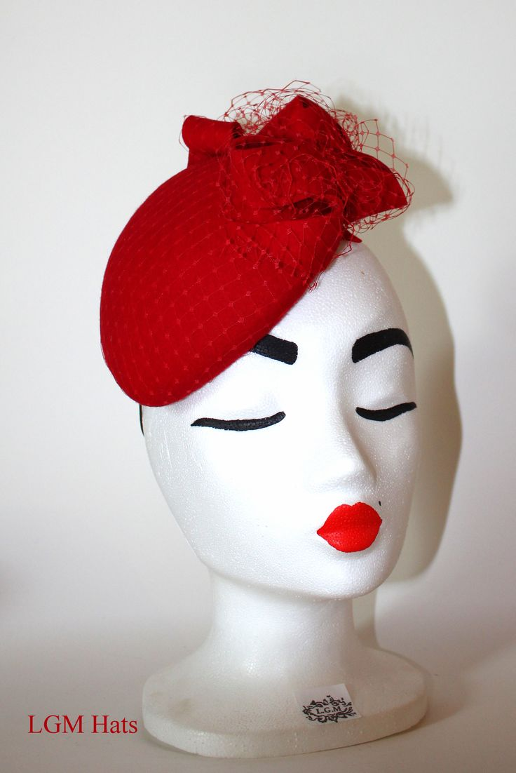 Understated red fascinator from LGM Hats www.lgmhats.com