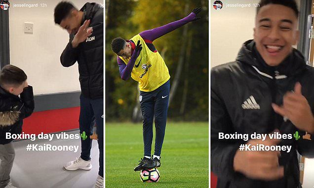 Manchester United star Jesse Lingard dabs with Wayne Rooney's son Kai